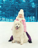 Happy smiling child with white Samoyed dog on snow in winter Stock Photography
