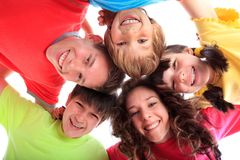 Happy smiling children. Happy smiling faces of a group of children royalty free stock photo