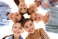 Happy smiling children faces Stock Photo