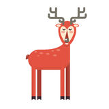 Happy smiling christmas deer cartoon character waving hoof. Chee. Happy smiling christmas deer cartoon character standing. Cheerful positive xmas reindeer. Santa Stock Photos