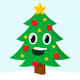 Happy smiling Christmas tree Stock Images