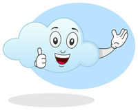 Smiling Cloud Character. A happy smiling cloud character with thumbs up. Eps file available Stock Photo
