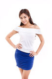 Happy, smiling, confident woman, arms akimbo. Happy, smiling, confident asian woman, arms akimbo Royalty Free Stock Image