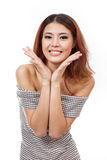 Happy, smiling, confident woman showing positive expression at y Royalty Free Stock Image