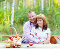 Happy smiling couple in the autumn forest. Sunset Stock Image