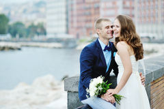 Happy smiling couple bride and groom in wedding day in Naples, Italy Stock Photography