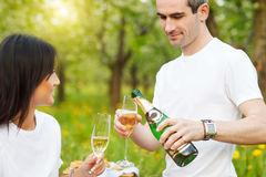Happy smiling couple drinking champagne on picnic Royalty Free Stock Photo