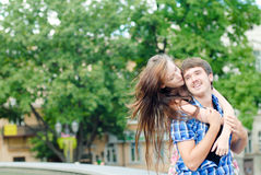 Happy smiling couple embracing Stock Photo