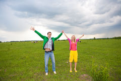 Happy smiling couple  in the field Stock Photo