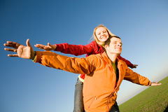 Happy smiling couple fly Royalty Free Stock Images