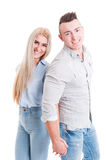 Happy smiling couple holding hands Stock Photography