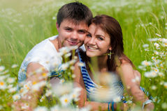Happy smiling couple hugging outdoors Royalty Free Stock Photo