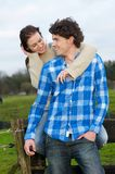 Happy Smiling Couple Outdoors Royalty Free Stock Photography