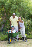 Happy smiling couple playing with wheelbarrow and their son royalty free stock photo