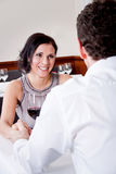 Happy smiling couple in restaurant celebrate Royalty Free Stock Photo