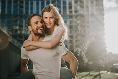 Happy smiling couple is spending time together royalty free stock photography