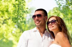 Happy smiling couple in sunglasses Stock Image