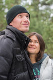 Happy smiling couple in winter park. concept about love Stock Photography