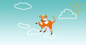 Happy  smiling cow. Happy  dairy smiling cow on clouds Royalty Free Stock Photos