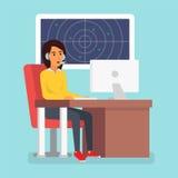 Happy smiling customer service phone operator. Call center online tech support. Vector illustration in flat design. vector illustration