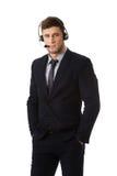 Happy smiling customer support phone operator. Handsome happy smiling customer support phone operator Stock Photo