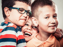 Happy smiling cute kids little girl and boys. Royalty Free Stock Image