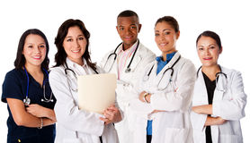 Happy smiling doctor physician nurse team. Happy smiling doctor physician nurse practitioner medical team standing together, on white Stock Photo