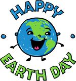 Happy smiling earth globe for Happy Earth Day - hand drawn vector illustration stock illustration