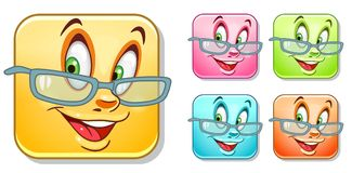 Happy glasses Emoticons Collection Stock Photography