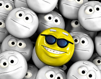 Happy smiling emoticon face. Among other grey, neutral, indifferent faces royalty free illustration