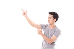 Happy, smiling, exited man pointing fingers up royalty free stock photos