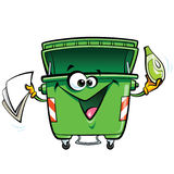Happy smiling face cartoon green trash bin character with gabadg. Happy cartoon smiling garbage bin character. Reuse recycling and keep clean concept  in white Royalty Free Stock Photos