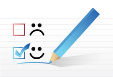 Happy smiling face check mark concept illustration Royalty Free Stock Image