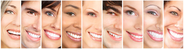 Happy smiling faces. Happy people laughing faces collage. Close-up smile portrait Stock Photos