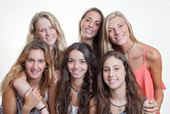 Happy smiling faces with white teeth. Of summer camp teens royalty free stock photo