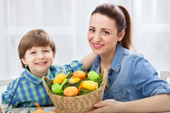Happy smiling family in easter time Stock Image