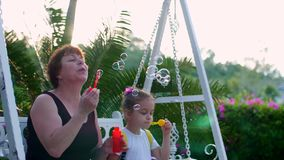 Happy smiling Family, grandmother with granddaughter are playing, blowing soap bubbles in the summer outdoor. Stock stock video footage