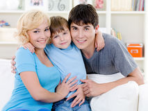 Happy smiling family at home Royalty Free Stock Photography