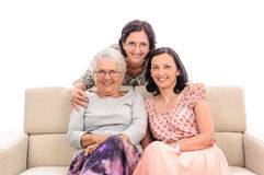 Happy smiling family senior and adult women Stock Images