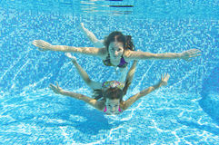 Happy smiling family underwater in swimming pool Royalty Free Stock Image