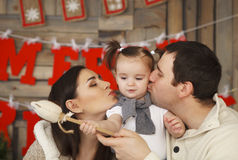 Happy Smiling Family With One Year Daughter Stock Photo