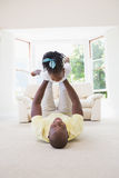 Happy smiling father holding her daughter royalty free stock photos
