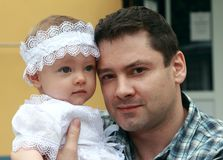 Happy smiling father and small baby Stock Images