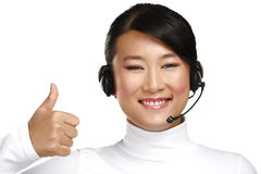 Happy smiling female asian customer service operator Stock Photo