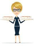 Happy Smiling Female Chief Cook Waiter Royalty Free Stock Images