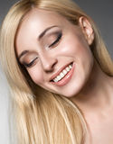 Happy smiling female model Royalty Free Stock Photos