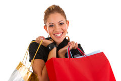 Happy smiling female shopper Stock Photo