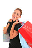Happy smiling female shopper Royalty Free Stock Photos
