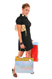 Happy smiling female shopper Stock Image