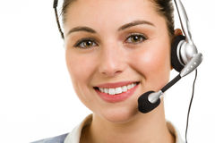 Happy smiling female support phone operator Stock Photo